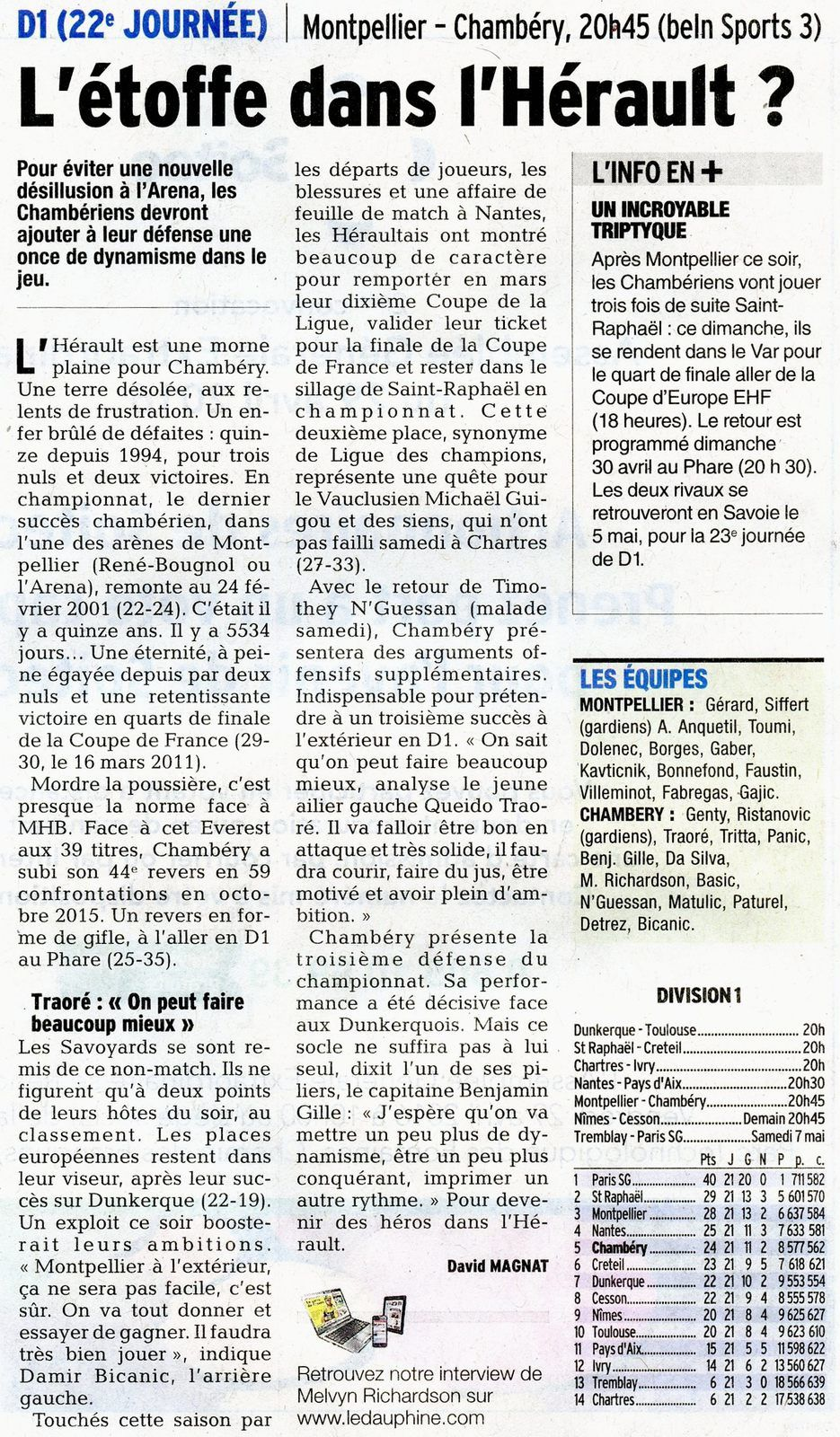 D1 l'article du DL MONTPELLIER  CHAMBERY 20 avril 2016