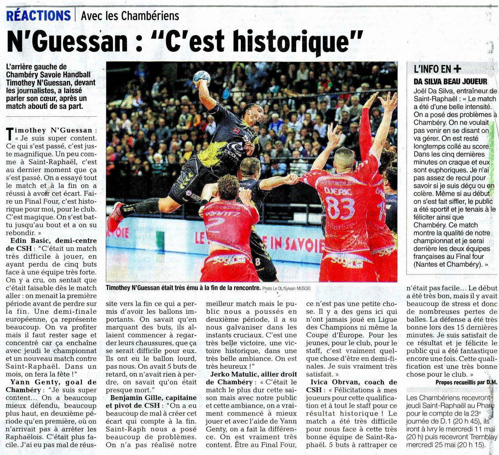 Article DL / EHF CHAMBERY - SAINT RAPHAEL 2 Mai 2016