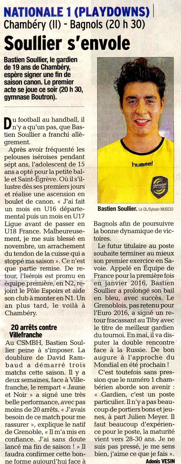 N1 article DL avant match CHAMBERY2 - BAGNOLS GARD le 1er avril 2017