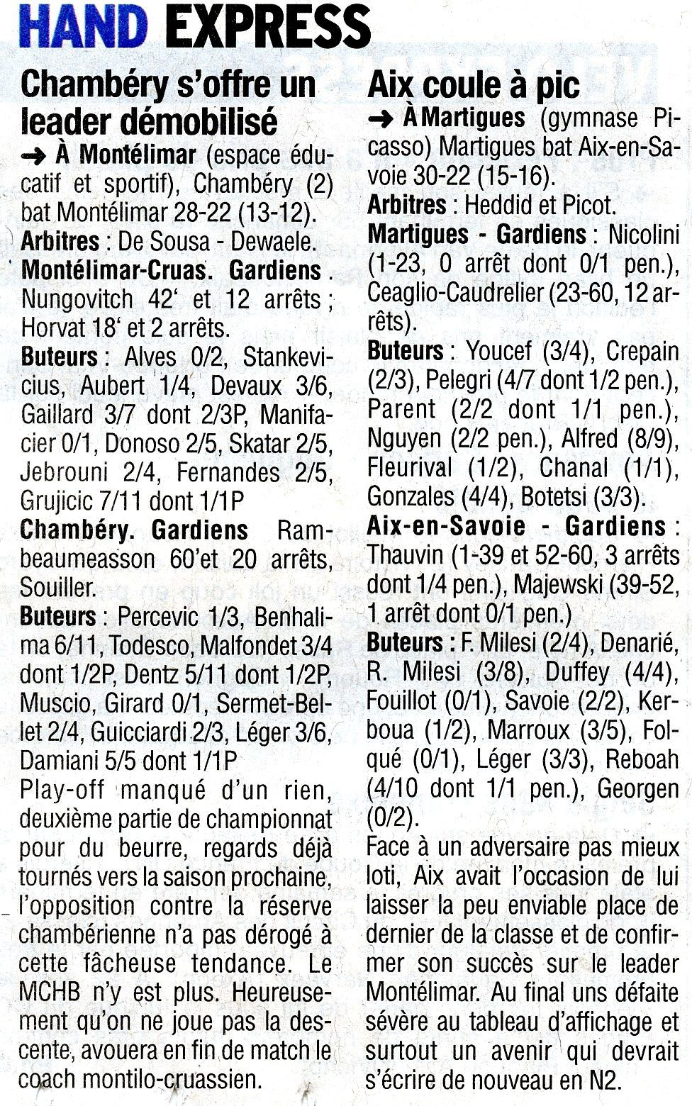 N1 : Montélimar / Chambéry : 22-28  samedi 8 avril 2017