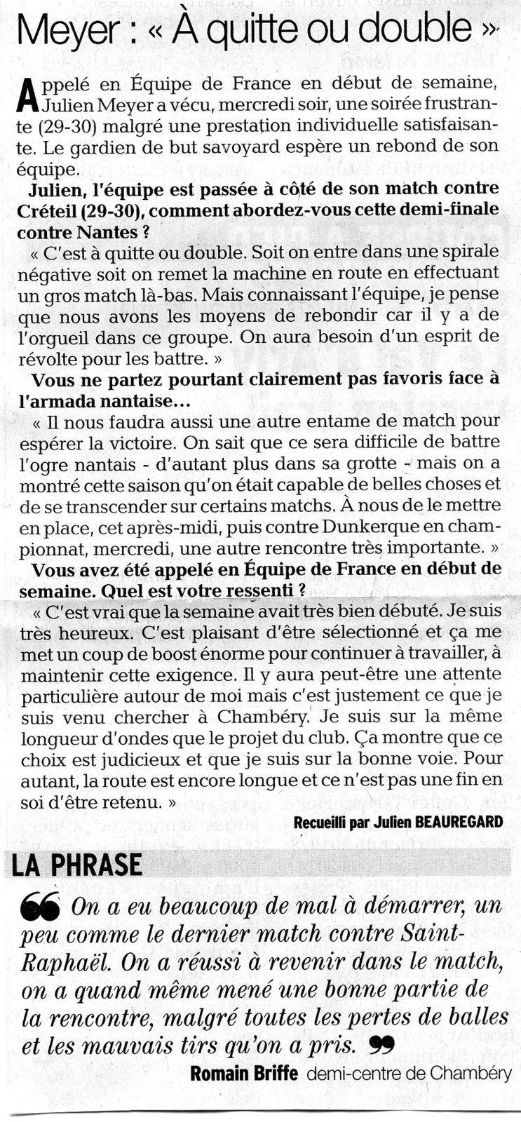 Dauphiné Libéré du dimanche 16 avril 2017 / Julien BEAUREGARD