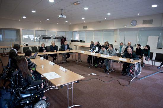 Rencontre de madame Neuville et les jeunes handicapés