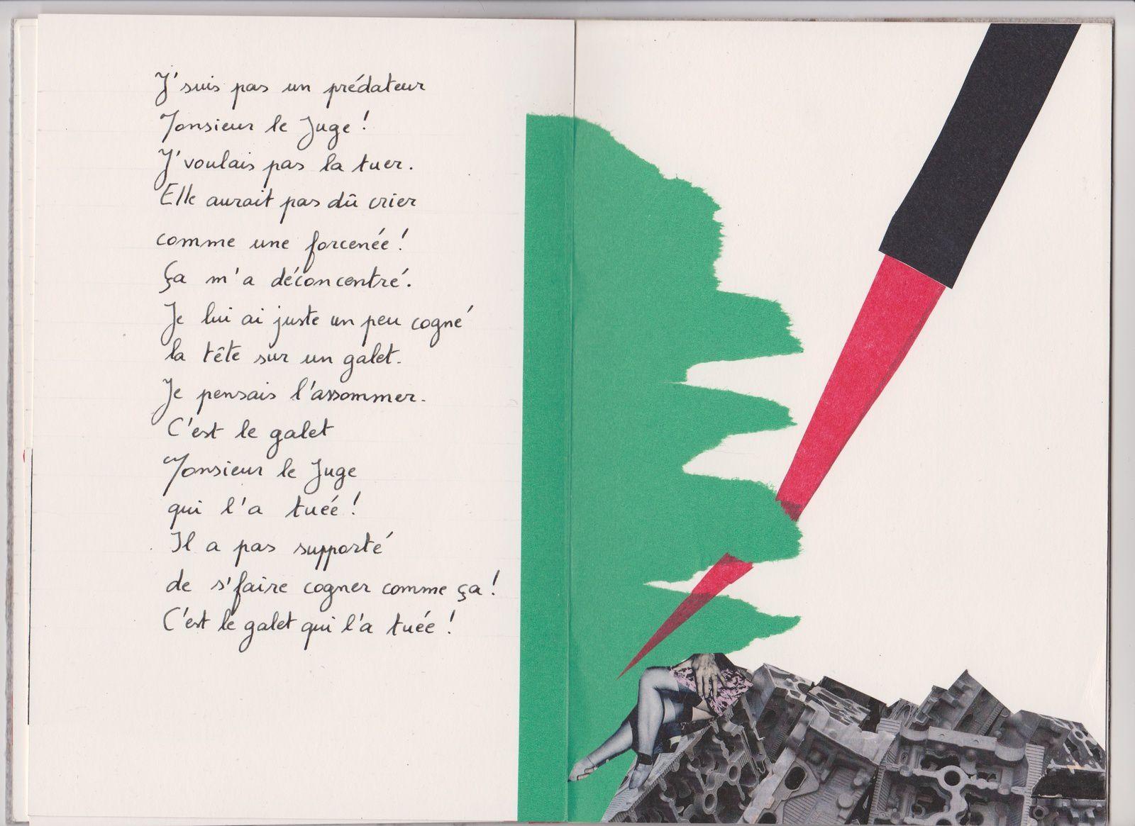 """Extrait d'un livre unique de Alain Helissen intitulé """" Proies"""" - Textes et collages de sa composition. © Alain Helissen- DR"""