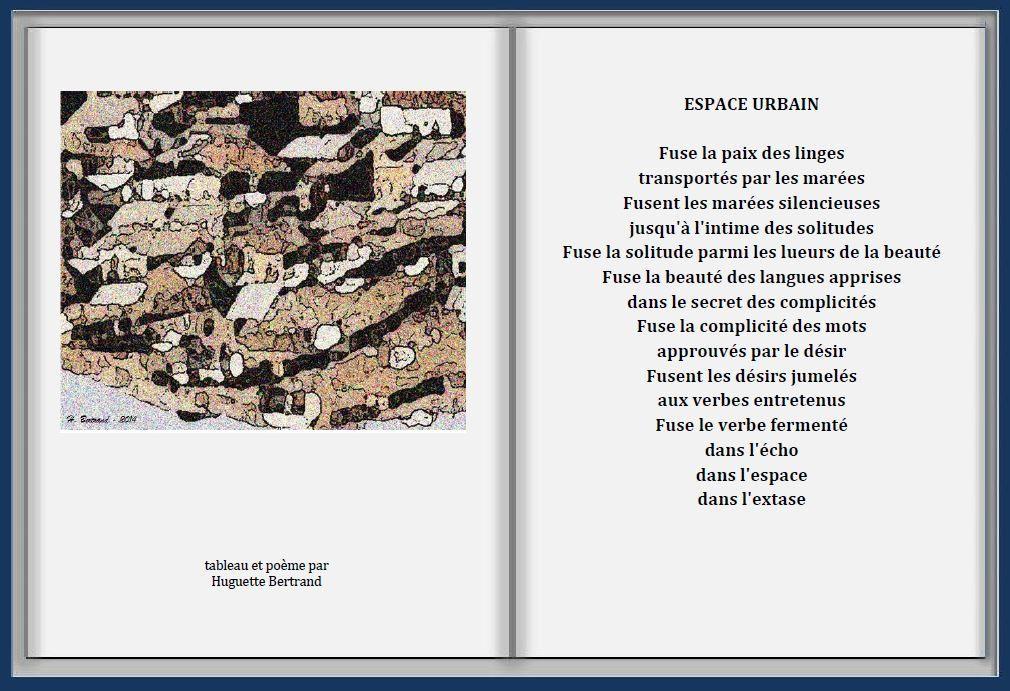 """Espace urbain - Tableau et poème par Huguette Bertrand - Extrait de """" A livre ouvert"""" de Huguette Bertrand-  © Éditions En Marge, décembre 2014"""