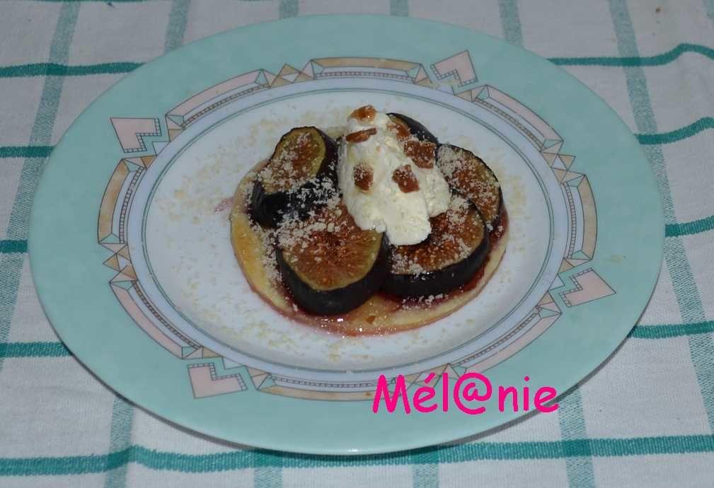 tarte fine aux figues et crème fraîche aux pépites de caramel