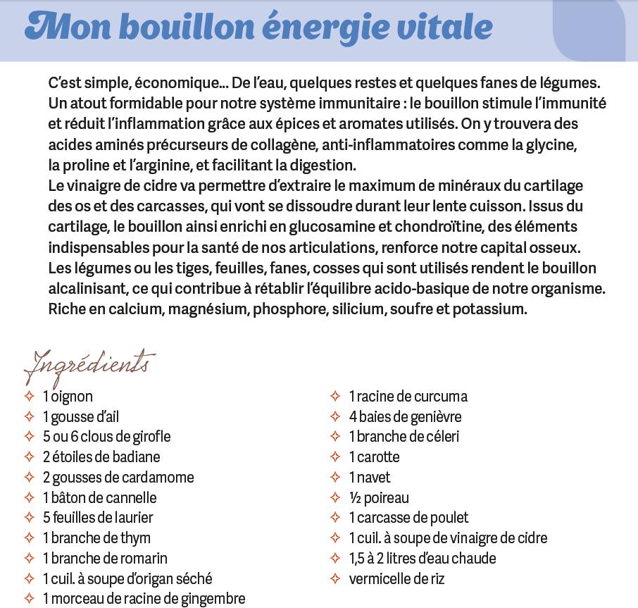 """Recette bouillon énergie vitale : extrait du livre """"Le Guide du mieux vivre sans gluten""""- Doriane"""