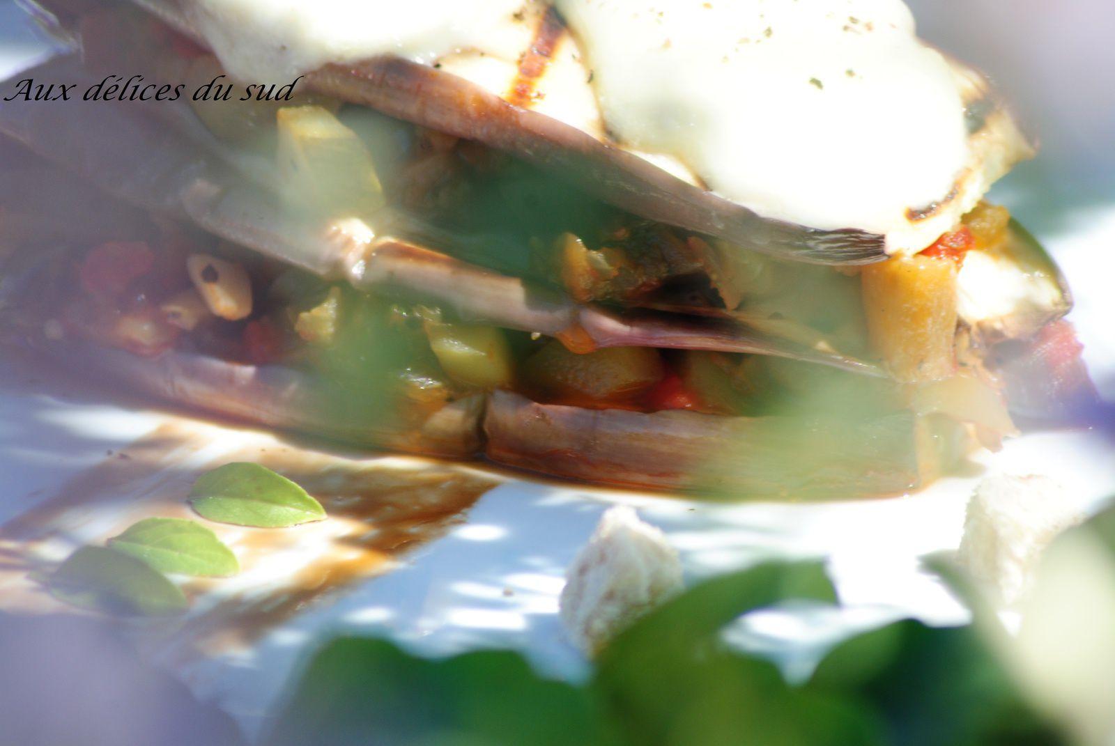 Ratatouille en mille-feuilles d'aubergines