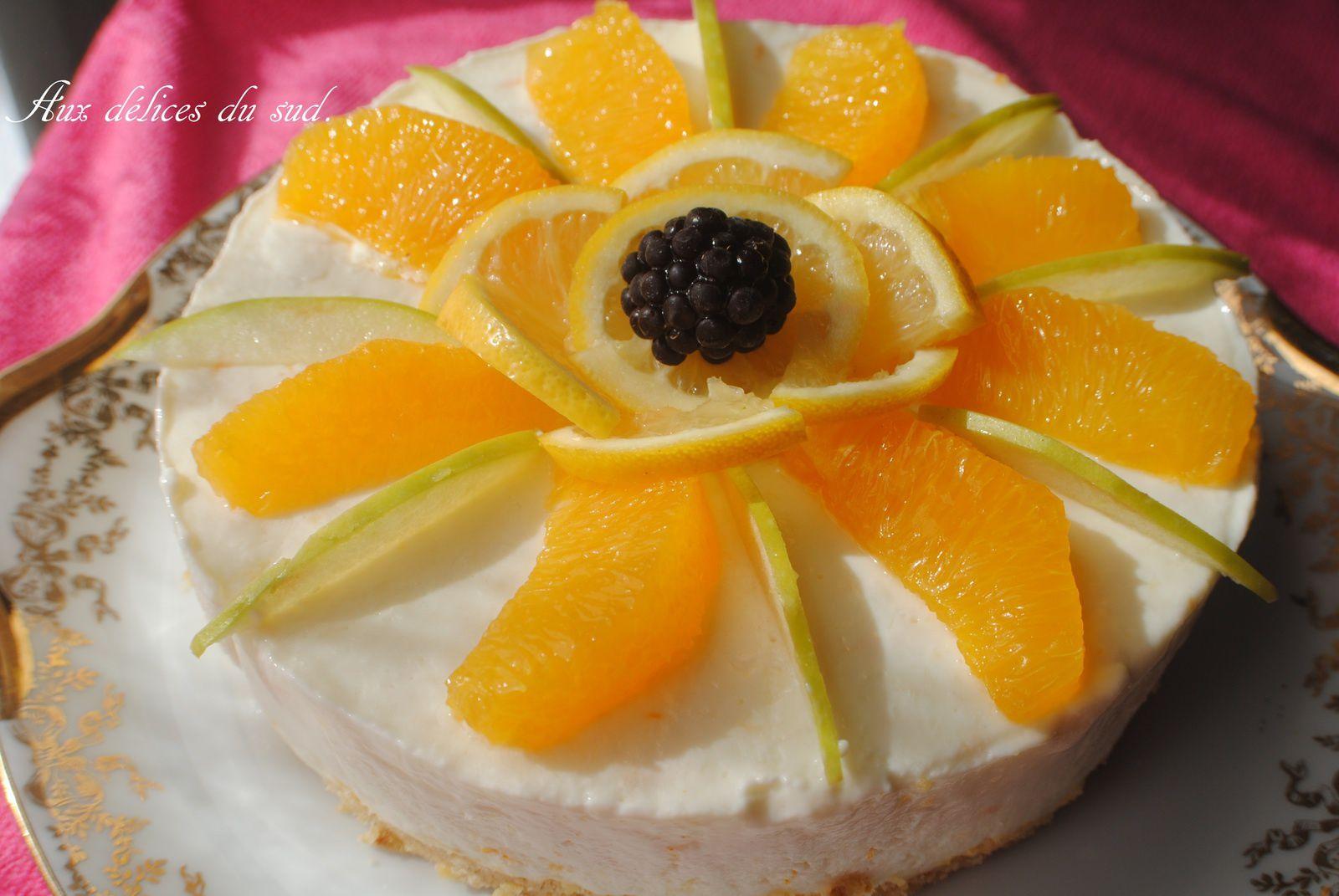 Gateau au fromage blanc, yuzu et orange .