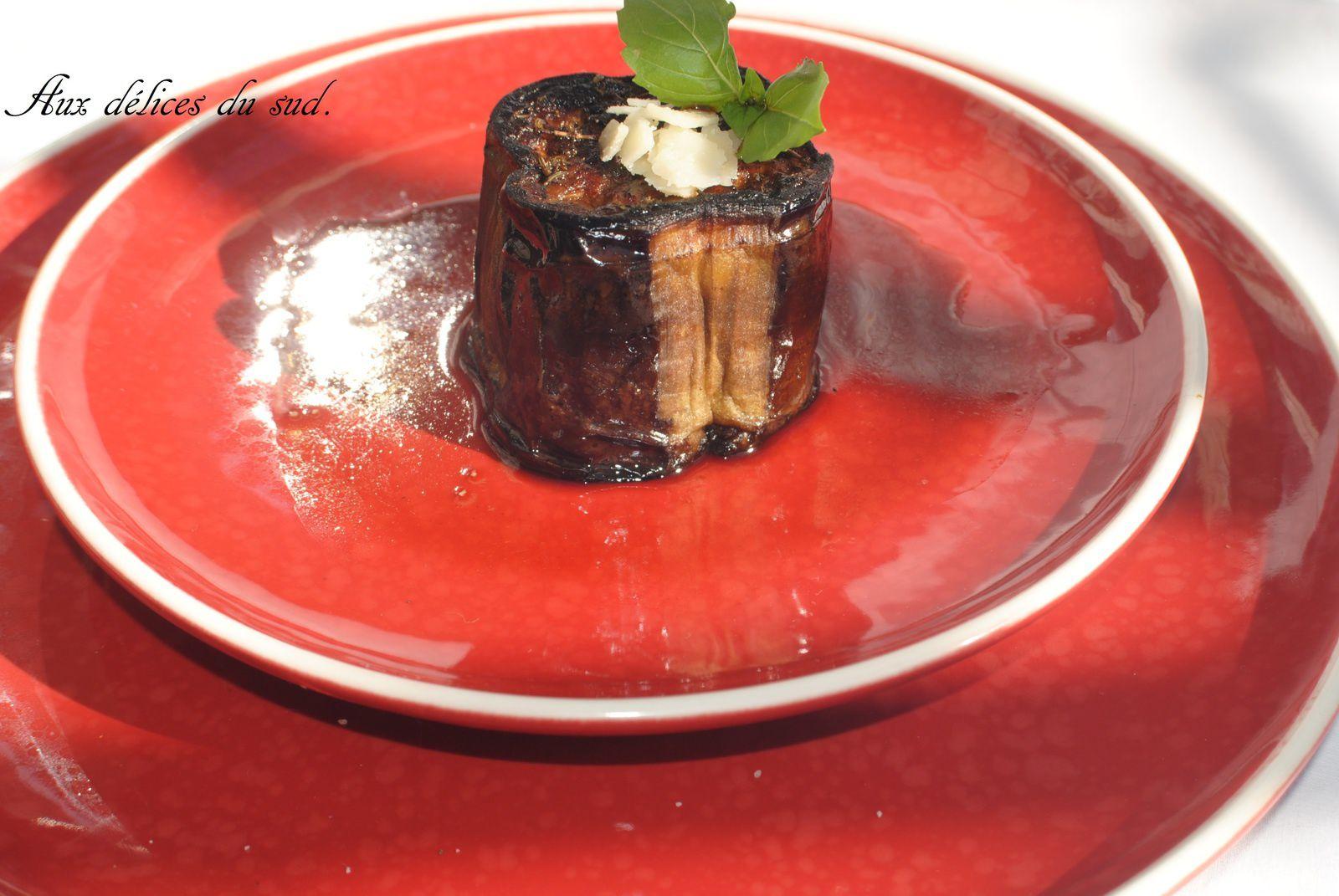 Gâteau d'aubergines au vinaigre balsamique et parmesan