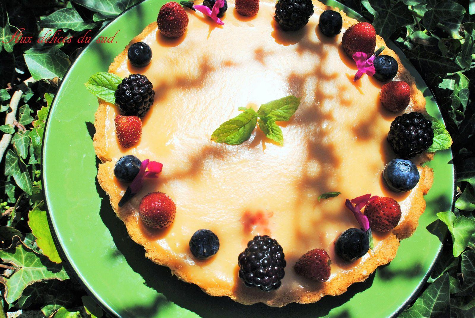 Tarte moelleuse aux  pêches  abricots , fruits rouges :