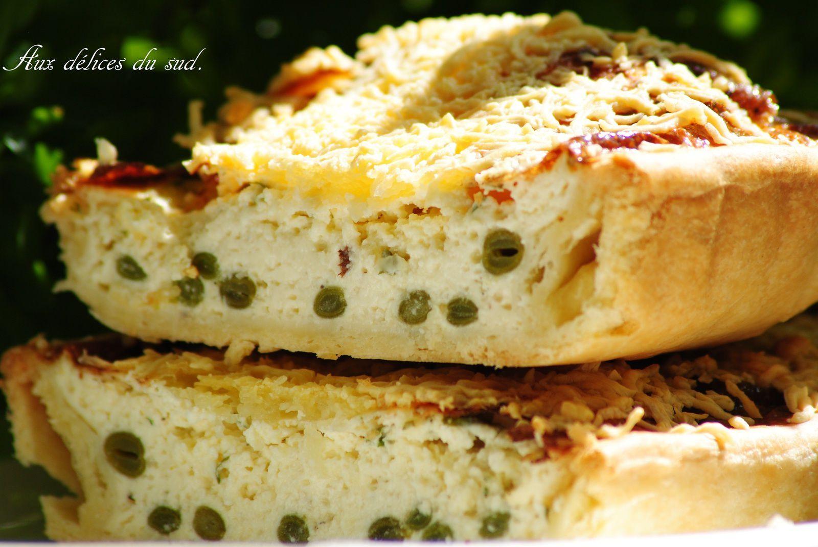 Tarte à la brandade de Nimes  et  haricots verts :