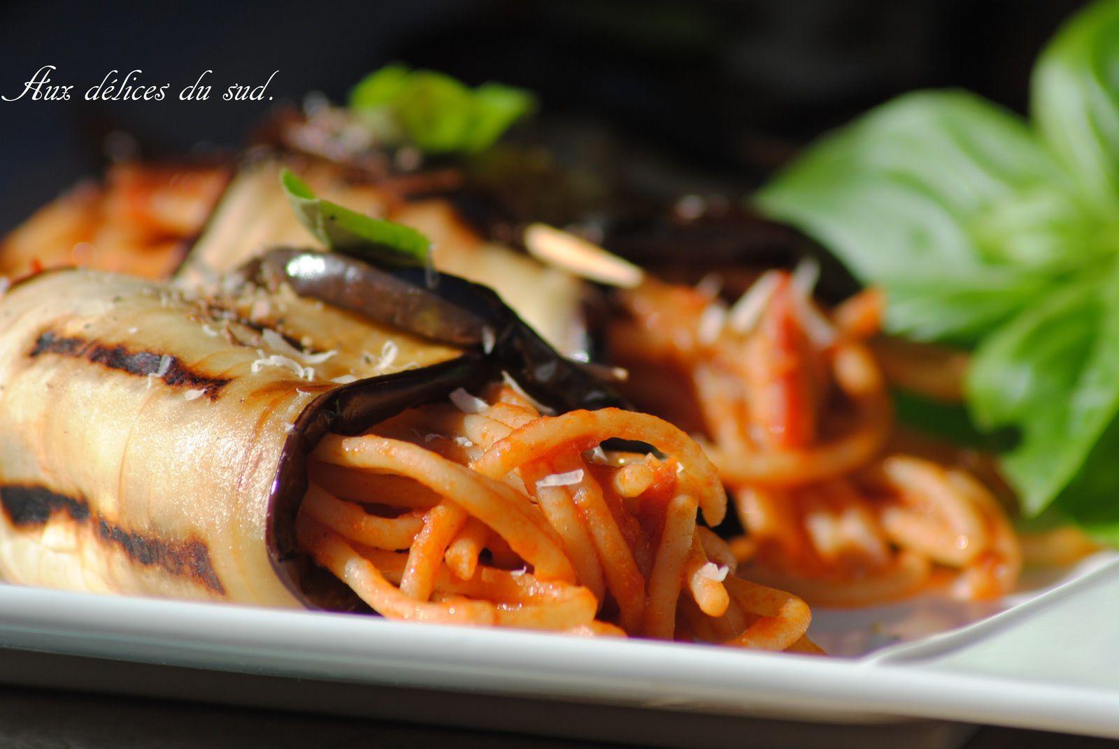 Cannoli d'aubergines aux spaghettis complet  :
