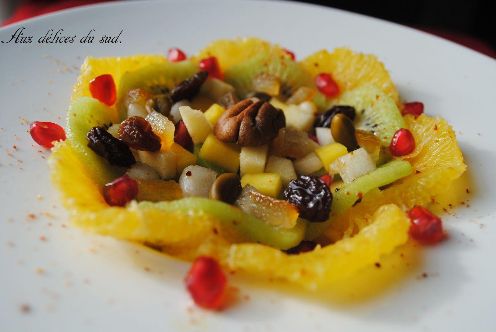 Salade de fruits d'hiver au piment d'Espelette .