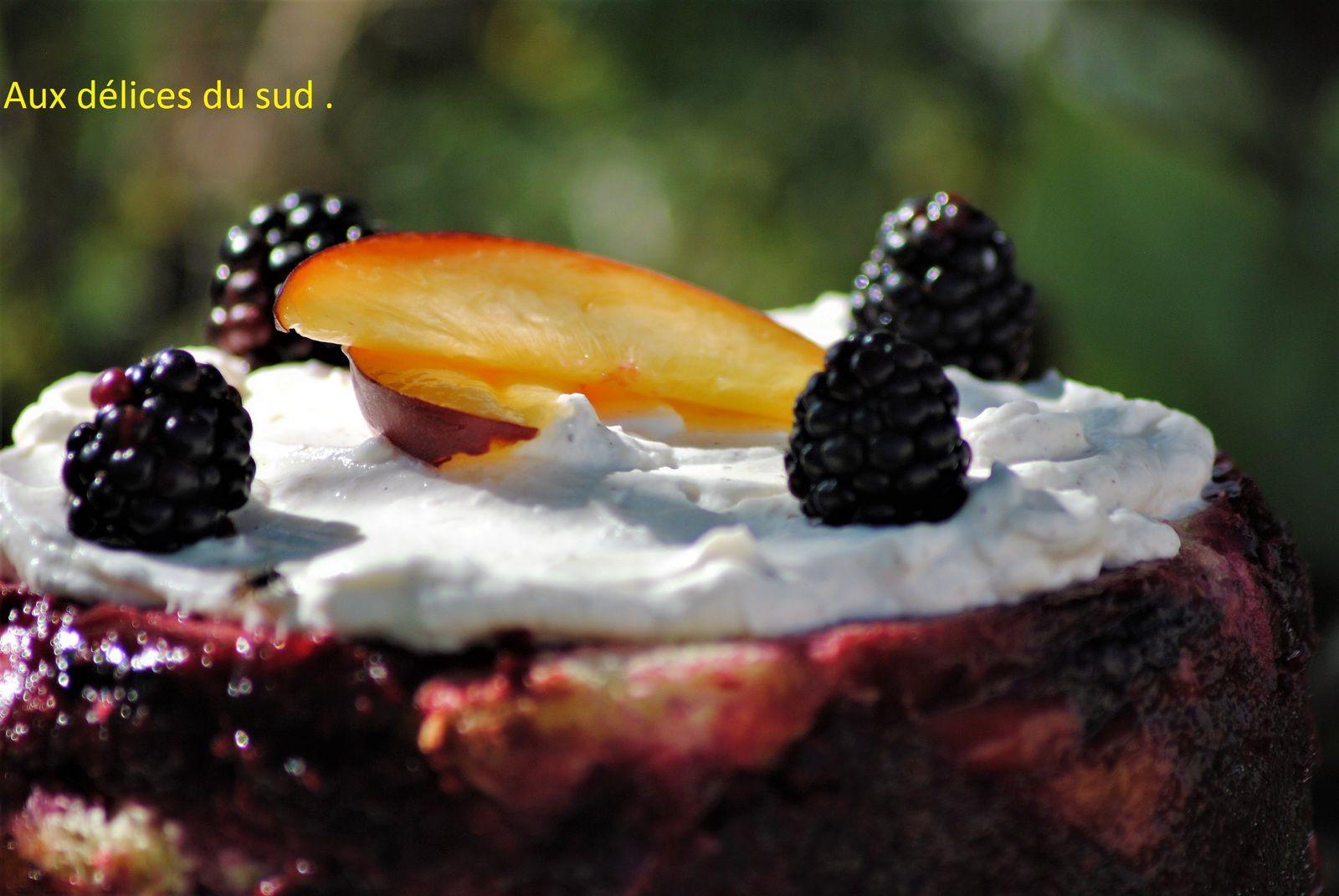 Summer pudding aux mûres et nectarines  .