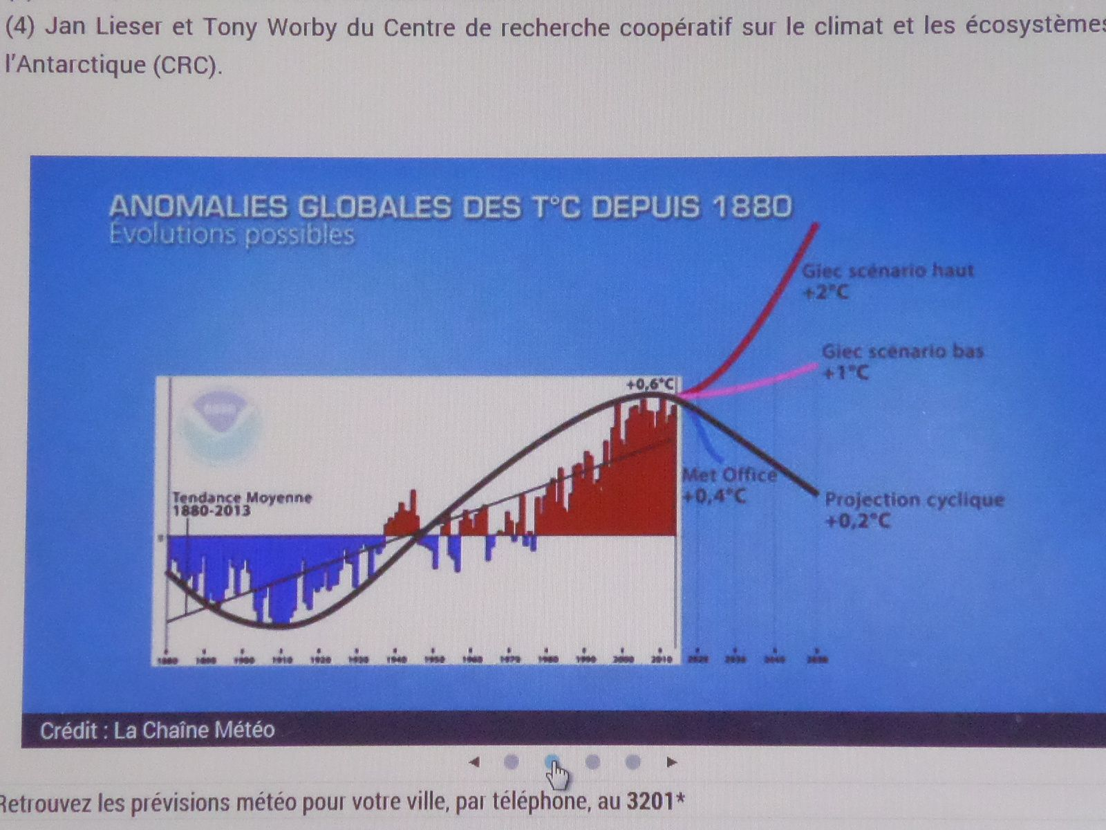 Evolution de la température mondiale de 1880 à 2015 et les scénarios jusquen 2050 !