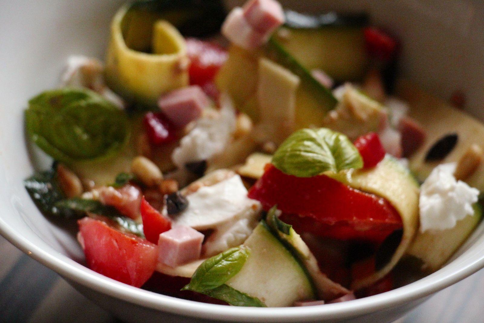 Salade de courgettes , tomates, et mortadelle