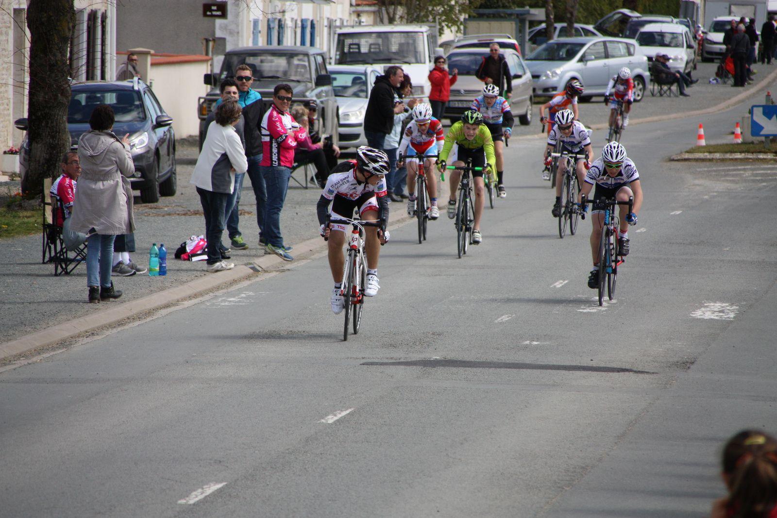 l'arrivée  avec  la  victoire  du  coureur  du  club  organisateur  Anthony  LEVRON(T  St  Sauveur), 2e  Antonin  SOUCHON(Côte de Beauté C), 3e  Tom  LOUCOUGARAY (VCCO), 4e  Erwan  MENAGER(AC  Macqueville), 5e  Timoty  BAUGE(Côte de Beauté C), 6e  Emmanuel  BELIN(CA  Civray), 7e  Manus  MASOCH(UA La Rochefoucault), 8e  Julie  LE GASTREC(VCCO) 1er  Fille, 9e  Bastien  GUYOMARD(CC  Vervant), 10e  Aubin  GANTIER(VCCO), 11e  Gaétan  BAUDU(VC  Rochefort), 12e  Axel  POUZAUD(Côte de Beauté C), 13e  Yannis  SOULARD(P  St  Florent), 14e  Noan  CORNIGUEL(CA  Civray), 15e  Madeline  COLLET(VC  Rochefort) 2e  fille, 16e  Manon  FOURGEAU(Champagne Sud Vendée C) 3e  Fille, 17e  Ilarion  BARRIERE(AL  Gond Pontouvre), 18e  Louis  VALLOIS(JPC  Lussac), 19e  Louis  LEPECULIER(CA  Civray), 20e  Adrien  DELBECQ (CO La Couronne).