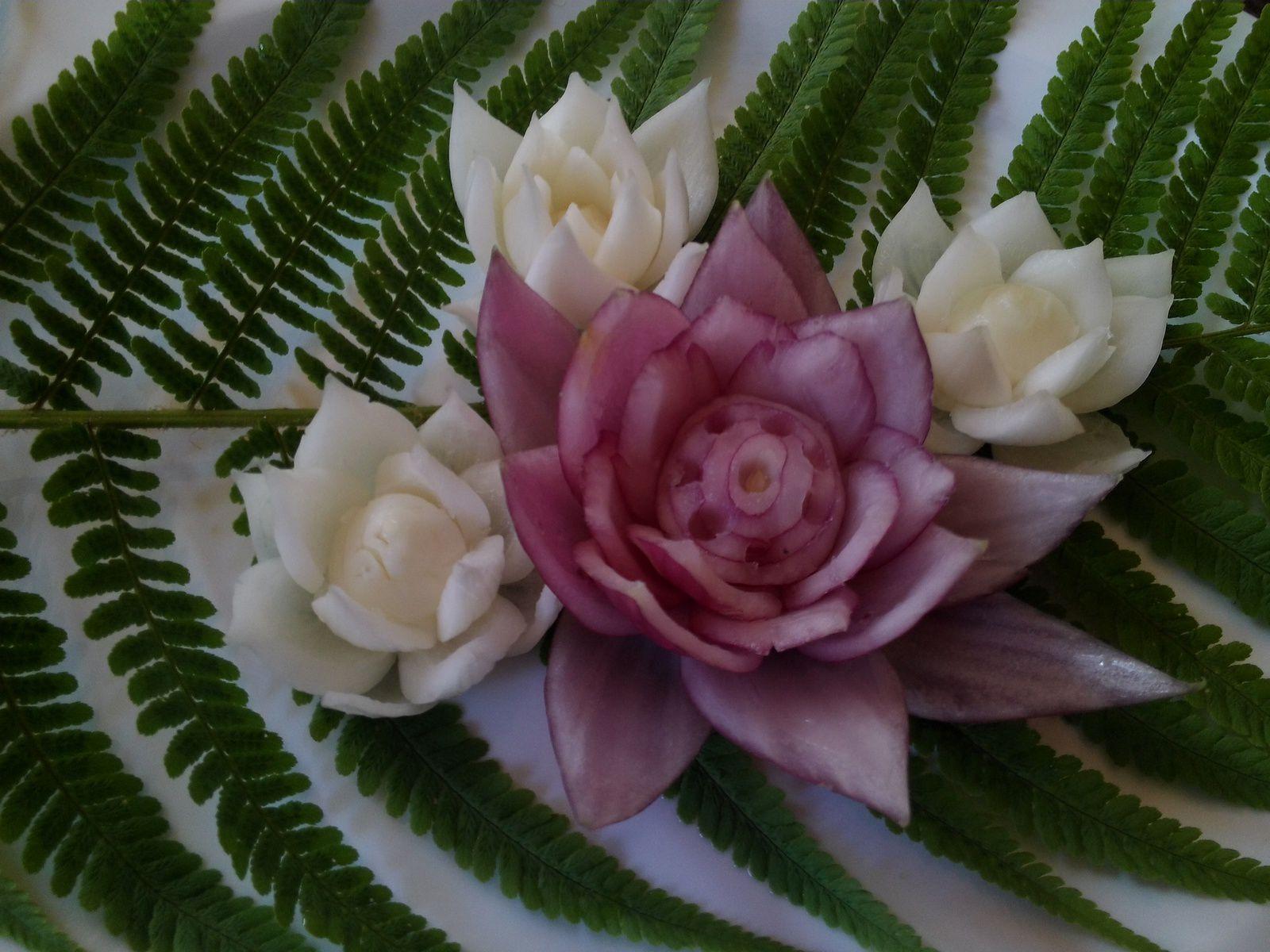 vid o pour r aliser une fleur de lotus en oignon cuisine et d coration culinaire. Black Bedroom Furniture Sets. Home Design Ideas