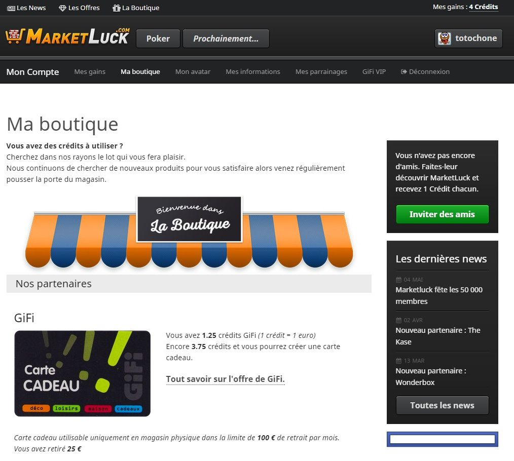 Copie d'écran du site Market Luck