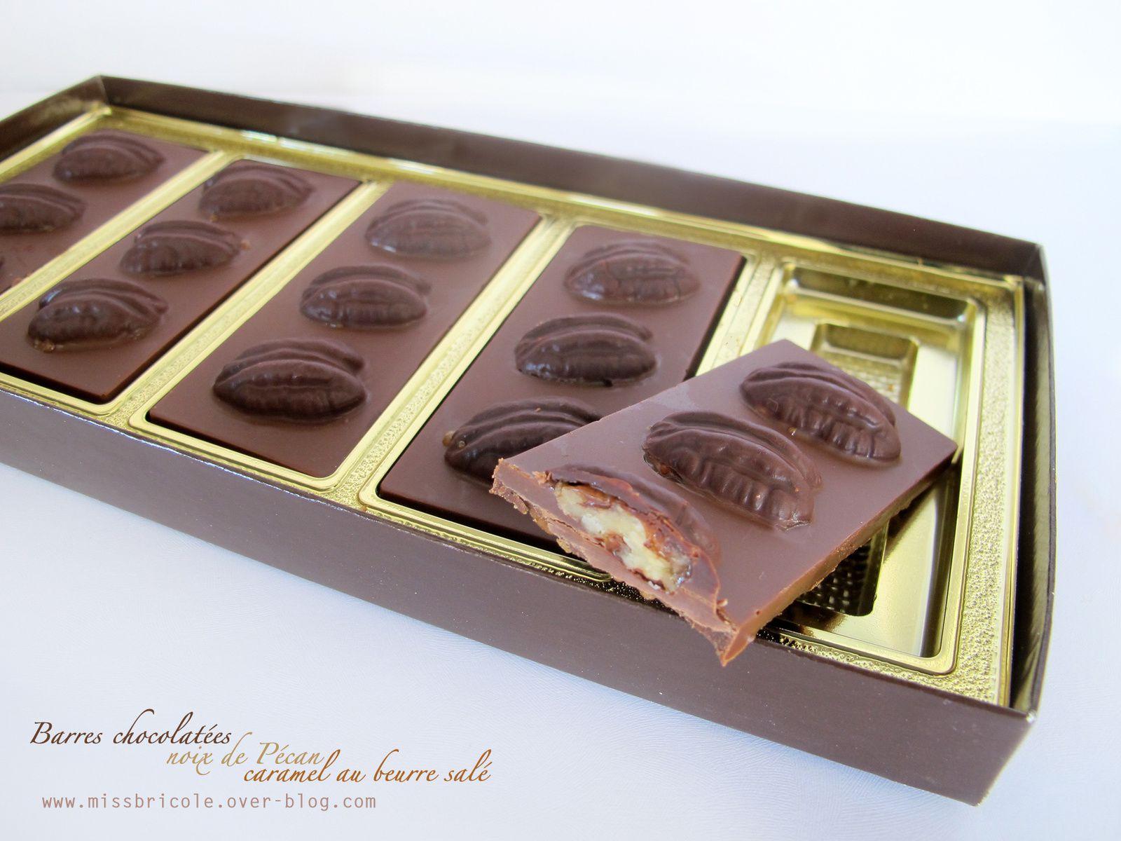 Barres chocolatées, noix de Pécan et caramel au beurre salé: une tuerie!!