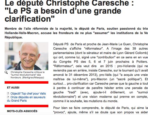 Christophe Caresche dans le JDD : &quot&#x3B;le PS a besoin d'une grande clarification&quot&#x3B;