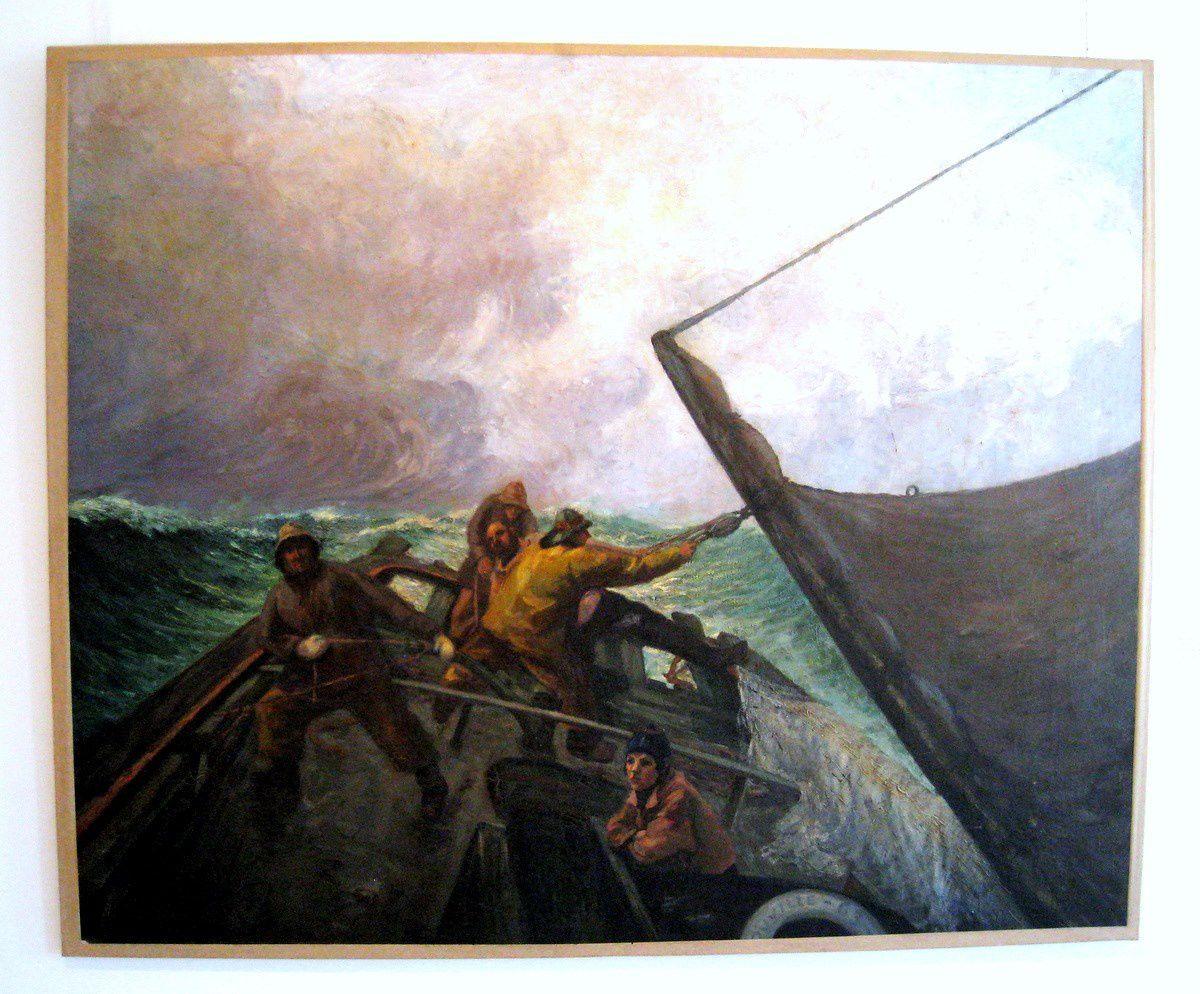 Pêcheurs à bord de la barque TR63, tableau de Jacques Leudet