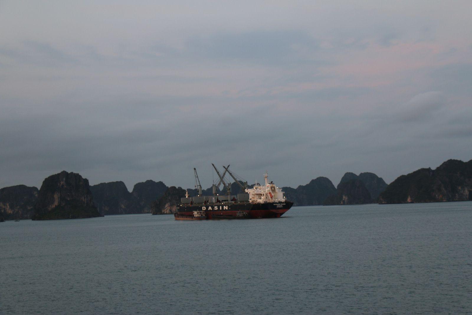 Cargos et transports de marchandises, baie d'Ha Long, Vietnam