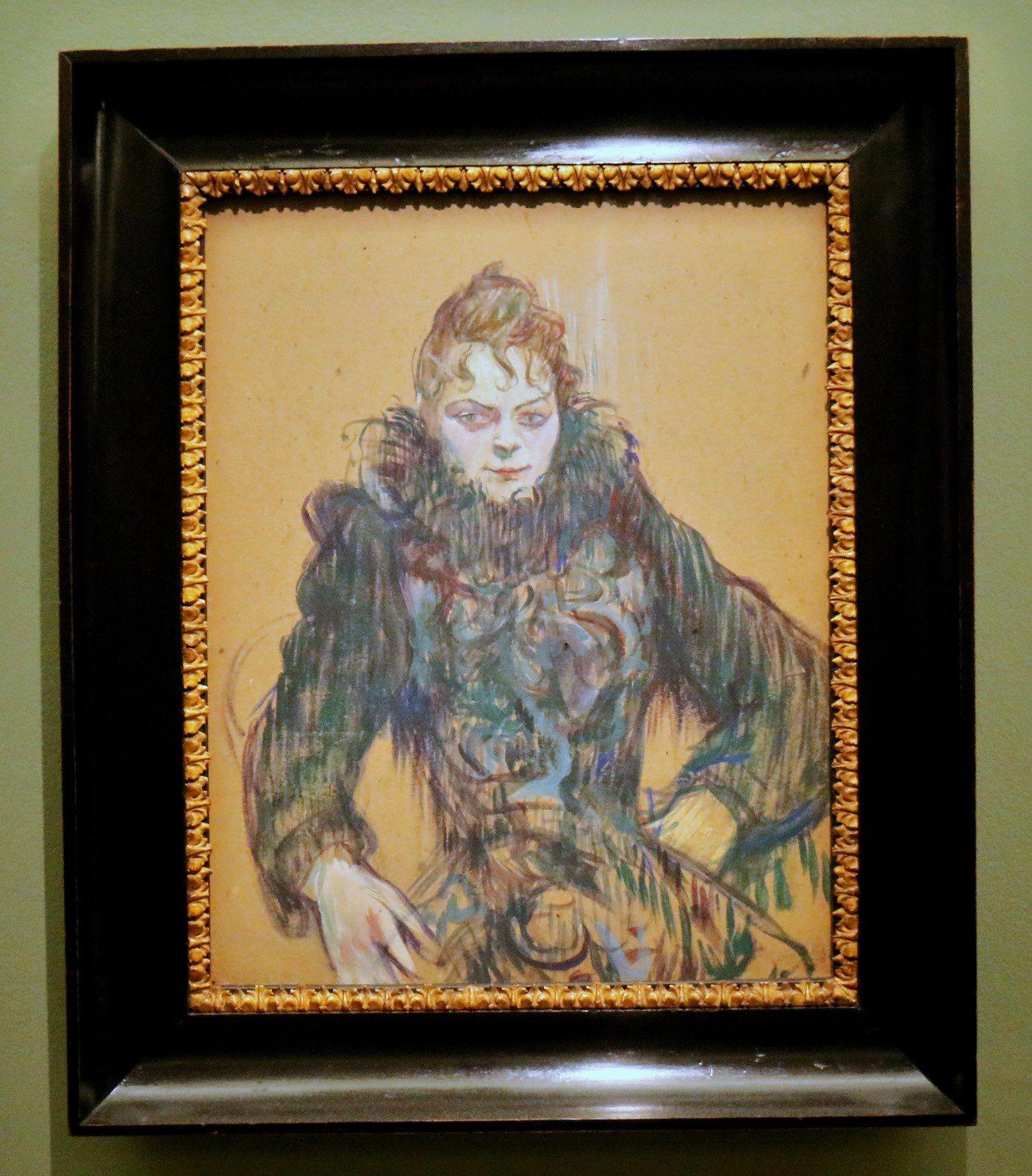 Femme au boa noir, huile sur carton de Henri de Toulouse-Lautrec