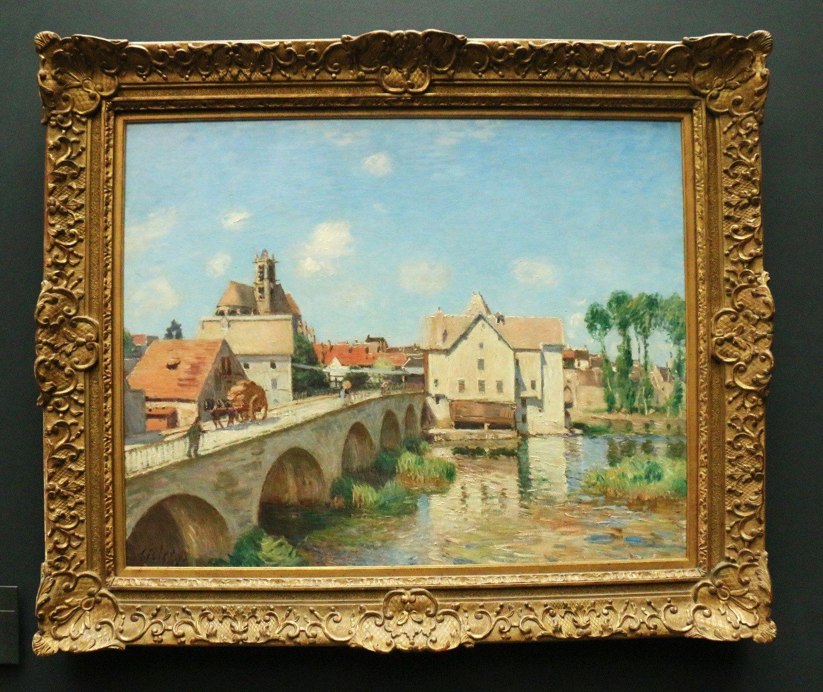 Le pont de Moret, huile sur toile d'Alfred Sisley