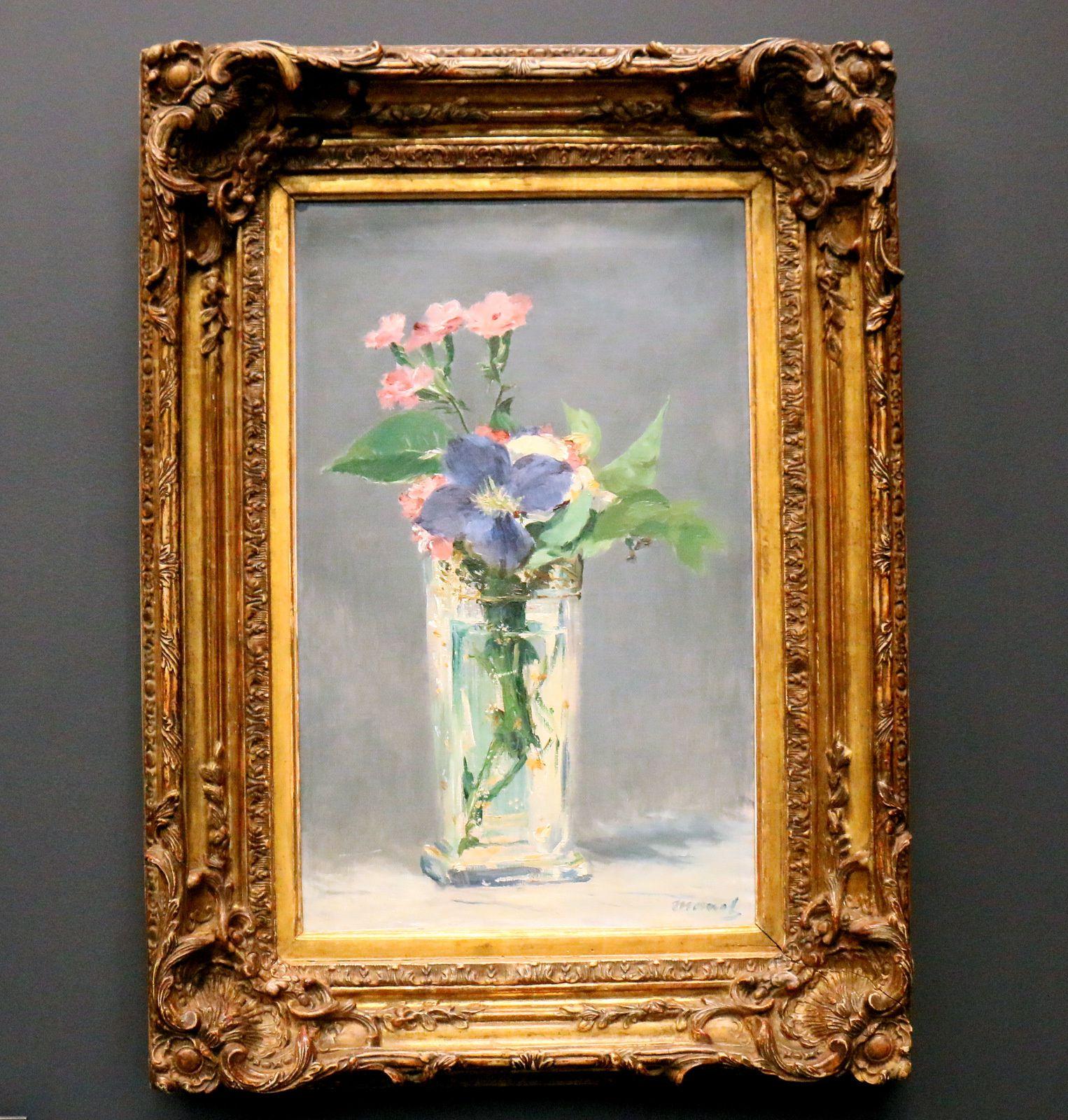 Oeillets et clématite dans un vase de cristal, huile sur toile d'Edouard Manet