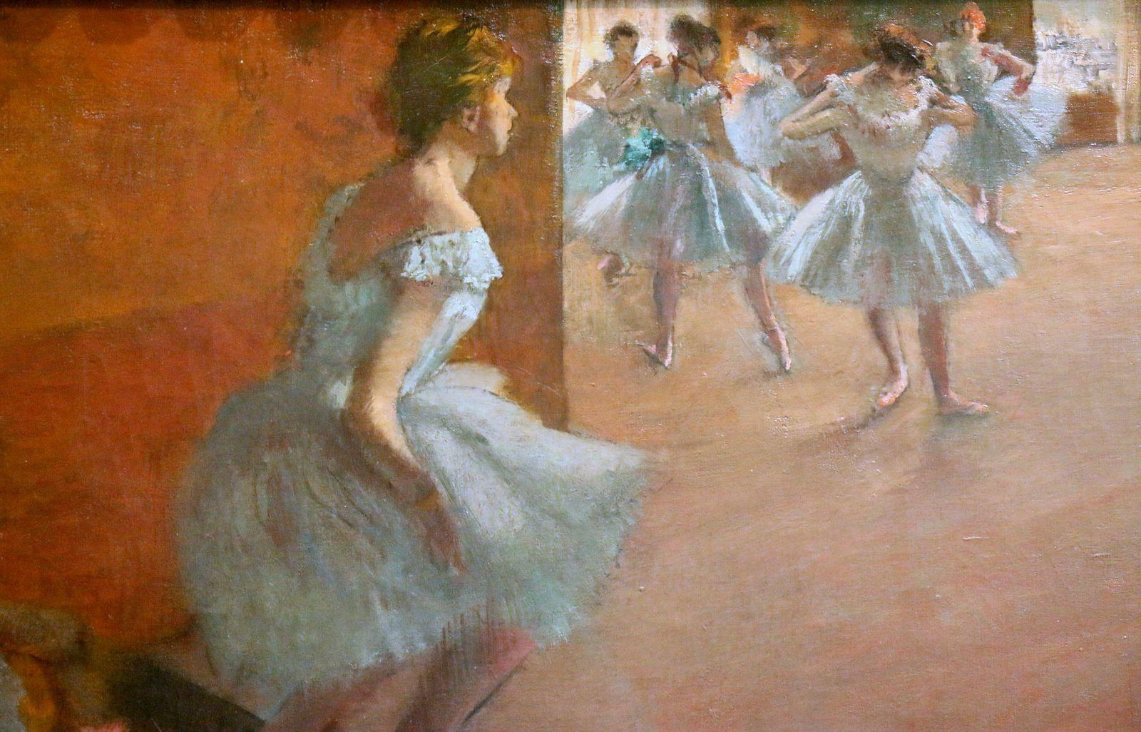 Danseuses montant un escalier, huile sur toile d'Edgar Degas