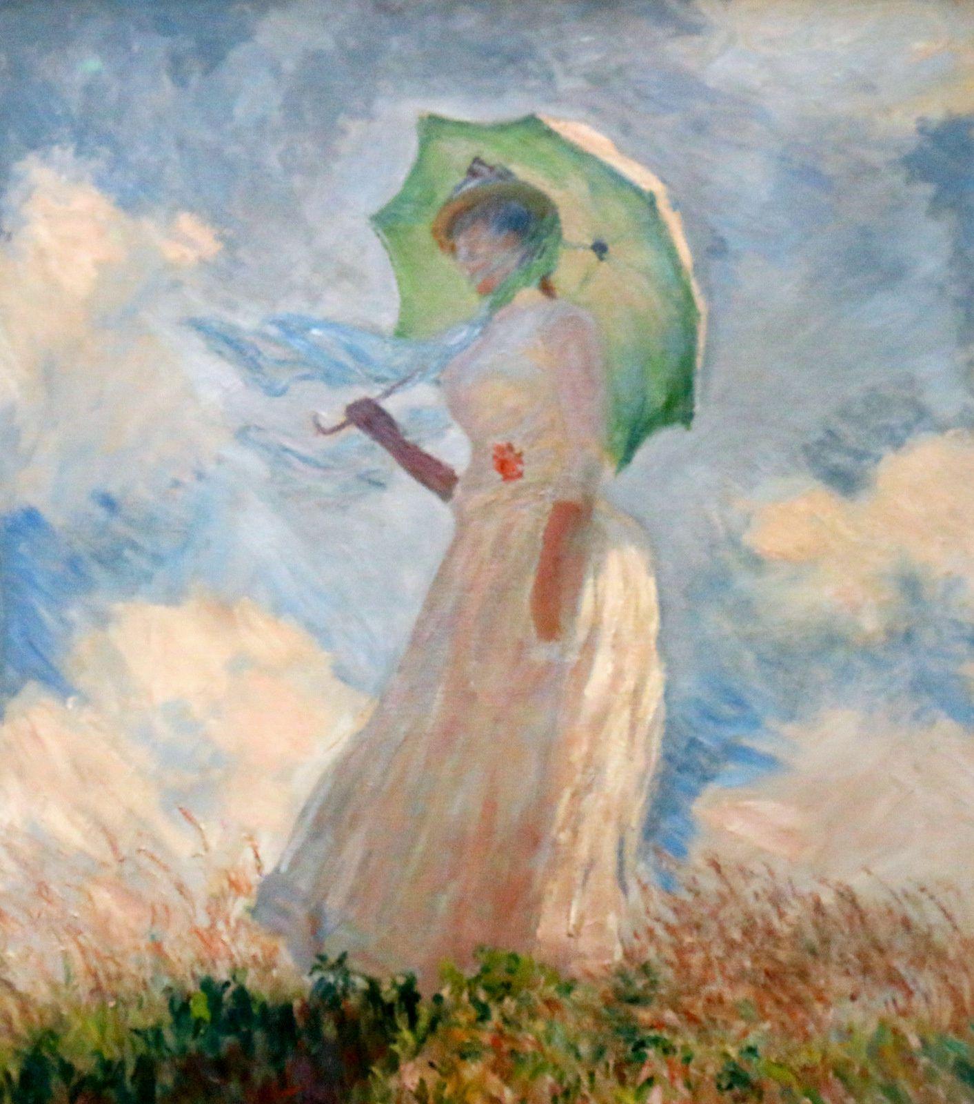 Femme à l'ombrelle, huile sur toile de Claude Monet