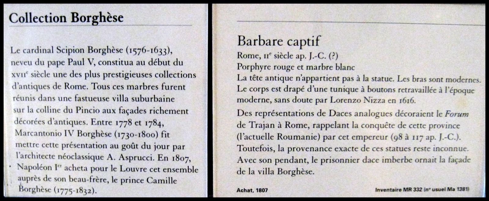 Barbares captifs, collection Borghèse