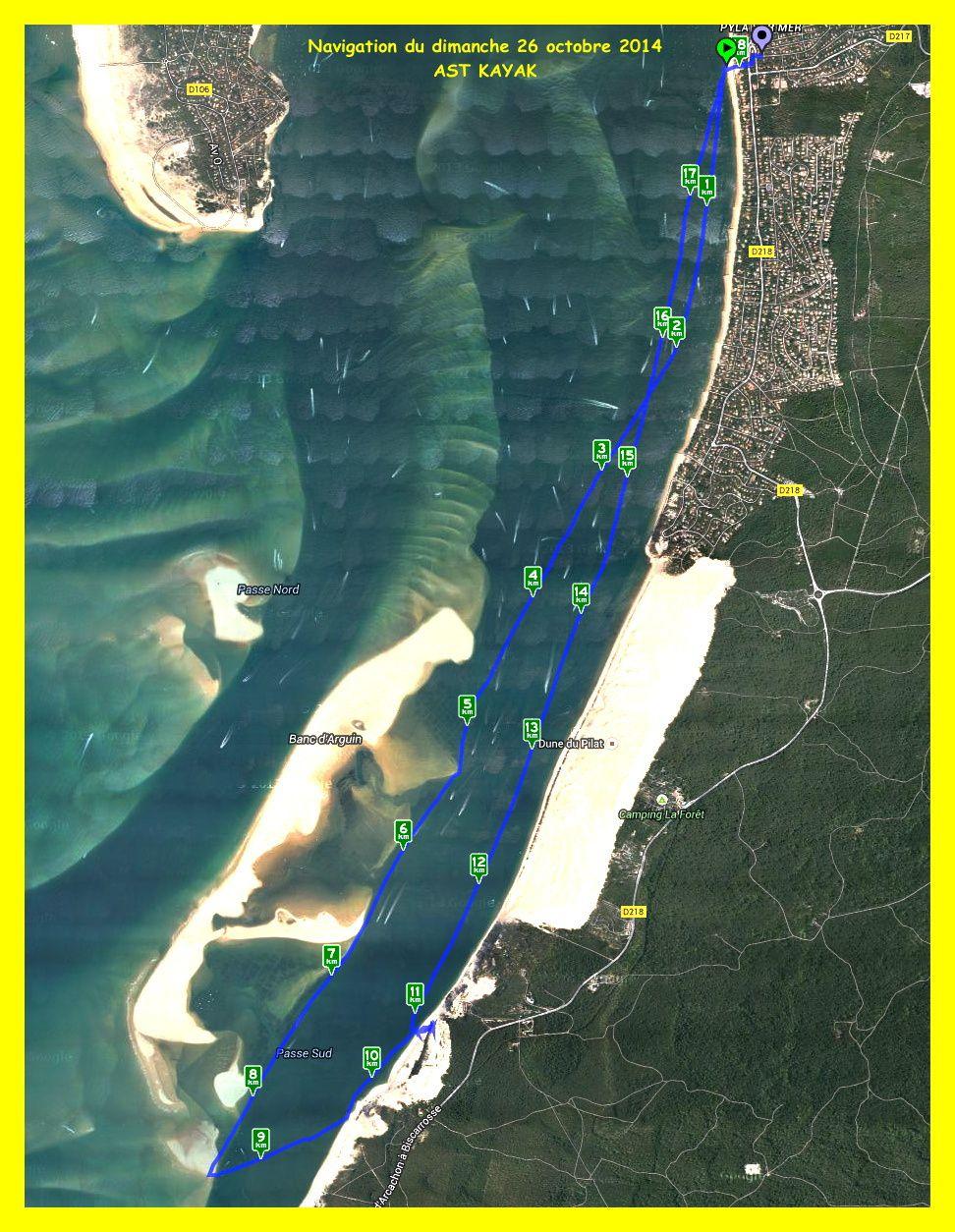 Navigation kayak vers le sud de la dune du Pyla