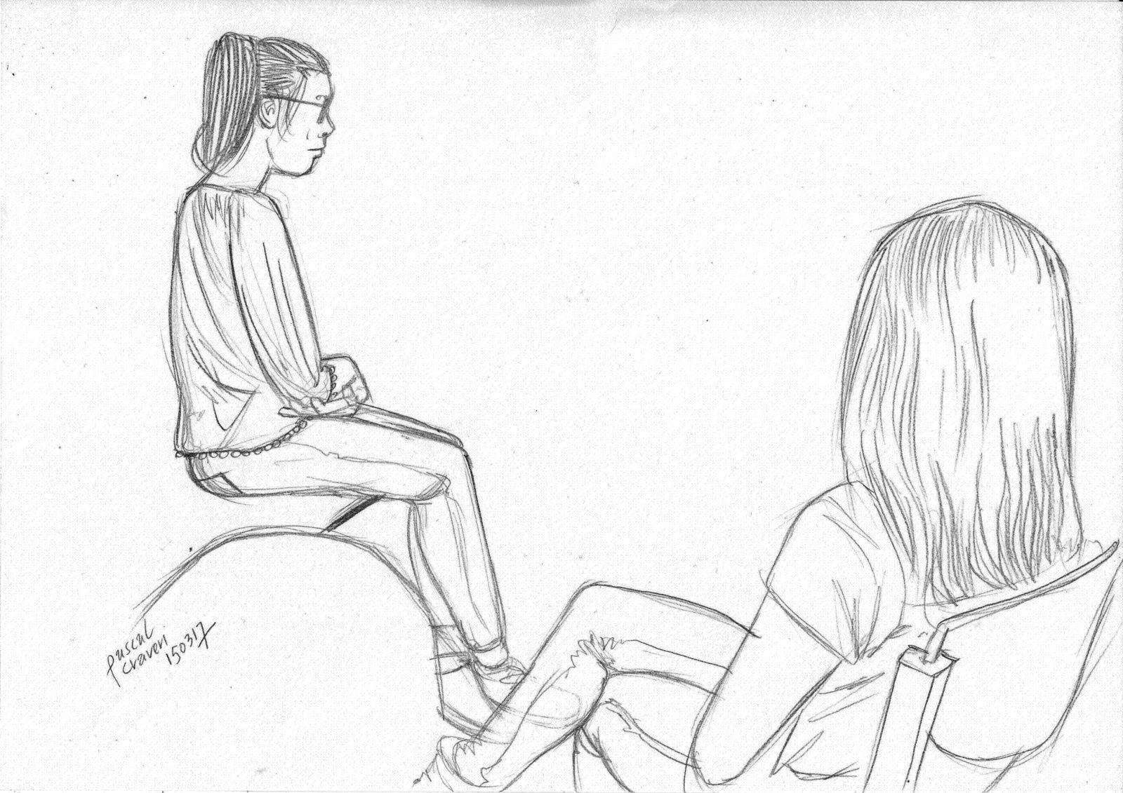 Croquis, jeune fille imaginé et portrait...