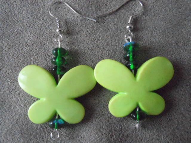 Boucle d'oreilles papillons verts