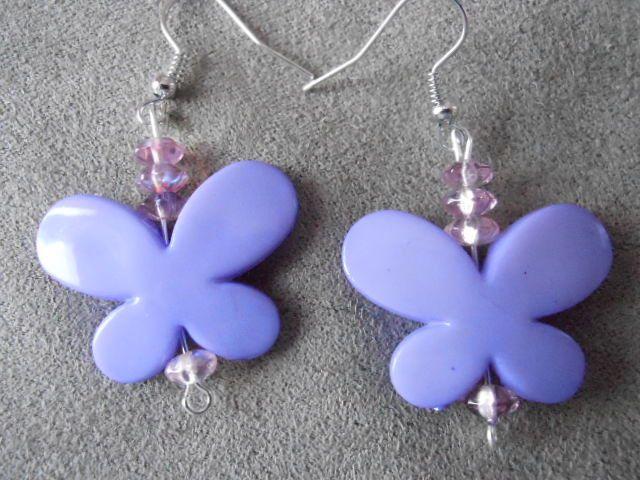 Boucle d'oreilles Papillons mauves