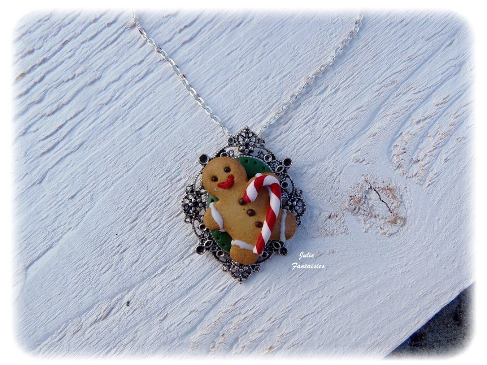 Collier &quot&#x3B; Gingerbread &quot&#x3B; en pâte Fimo
