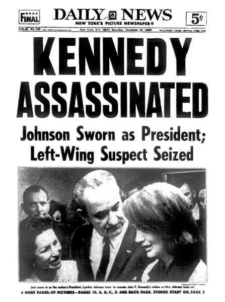 Daily News front page the day after the assassination.