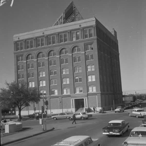 Lee Harvey Oswald fired from the top right window on sixth floor of the Texas School Book Depository in Dallas, Tex.