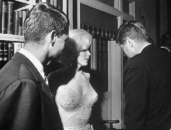 Bobby Kennedy, John Fitzgerald Kennedy and Marilyn Monroe