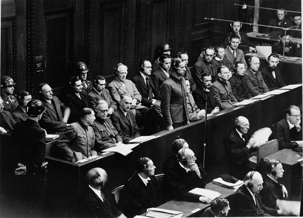 Karl Brandt, Hitler's personal physician stands in the defendants dock at the Doctors Trial