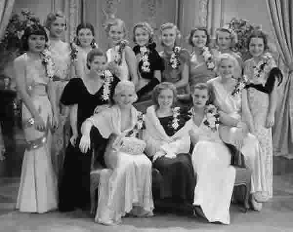"The ""WAMPAS Baby Stars"" of 1932. Rear row: Toshia Mori, Boots Mallory, Ruth Hall, Gloria Stuart, Patricia Ellis, Ginger Rogers, Lilian Bond, Evalyn Knapp, Marian Shockley. Front row: Dorothy Wilson, Mary Carlisle, Lona Andre, Eleanor Holm, Dorothy Layton"