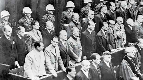 Nazi leaders accused of war crimes during World War II listening to the verdict of the Nuremberg trial, on October 2, 1946. First row: From left, Hermann Goering, Rudolf Hess, Joachim Von Ribbentrop, Wilhelm Keitel, Alfred Rosenberg, Hans Frank, Wihelm Frick, Julius Streicher, Walther Funk and Hjalmar Schacht. Second row: From left, Karl Doenitz, Erich Raeder, Baldur von Schirach, Fritz Sauckel, Alfred Jodl, Franz Von Papen, Arthur Seyss-Inquart, Albert Speer, Konstantin Von Neurath and Hans Fritzsche.