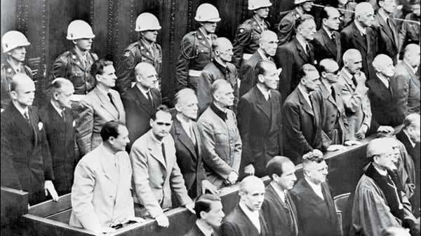Nazi leaders accused of war crimes during World War II listening to the verdict of the Nuremberg trial, on October 2, 1946. First row: From left, Hermann Goering, Rudolf Hess, Joachim Von Ribbentrop, Wilhelm Keitel, Alfred Rosenberg, Hans Frank, Wihelm Frick, Julius Streicher, Walther Funk and Hjalmar Schacht. Second row: From left, Karl Doenitz, Erich Raeder, Baldur von Schirach, Fritz Sauckel, Alfred Jodl, Franz Von Papen, Arthur Seyss-Inquart, Albert Speer, Konstantin Von Neurath and Hans Fritzsche.