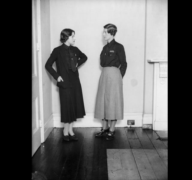 """""""My mother-in-law's father was chairman of the Anglo-German Alliance, which was set up to bring the two countries closer together. He would make speeches in the House of Lords saying Hitler is a sound chap,"""" says Johnson. Here, two female members of the British Union of Fascists."""