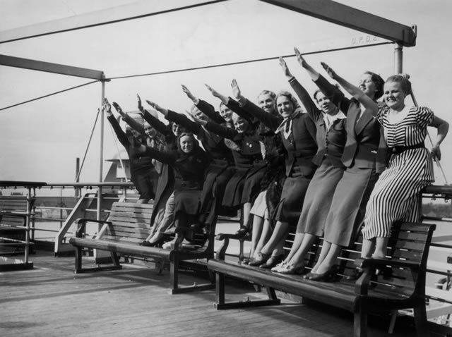 In the 1930s, many English families sent their daughters to schools in Germany. Rachel Johnson, the sister of London Mayor Boris Johnson, interviewed many of them in preparation for her new novel. Here, a group of young women give the Nazi salute on board the Wilhelm Gustloff in Tilbury in 1938.