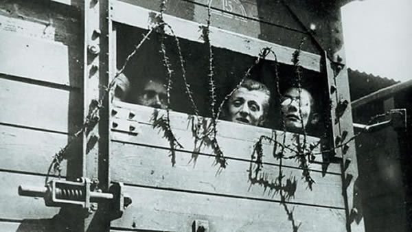 Prisoners arrive at a concentration camp in 1943