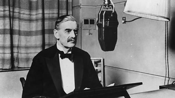 British Prime Minister Neville Chamberlain in a BBC studio, announcing the declaration of war.