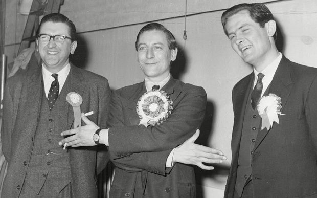 Lubbock, centre, with his opponents Peter Goldman and Alan Jinkinson at Orpington in 1962